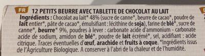 Petit beurre bio avec tablette de chocolat au lait - Ingredients