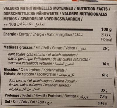 Petit beurre bio avec tablette de chocolat au lait - Nutrition facts
