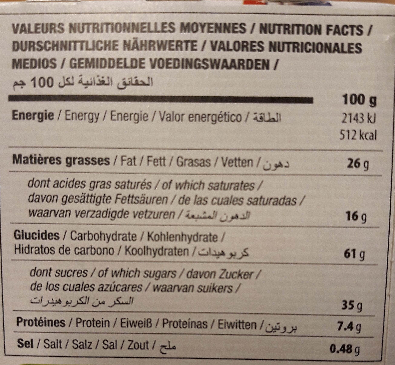 Petit beurre bio avec tablette de chocolat au lait - Nutrition facts - fr