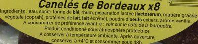 Canelés de Bordeaux - Ingredients - fr