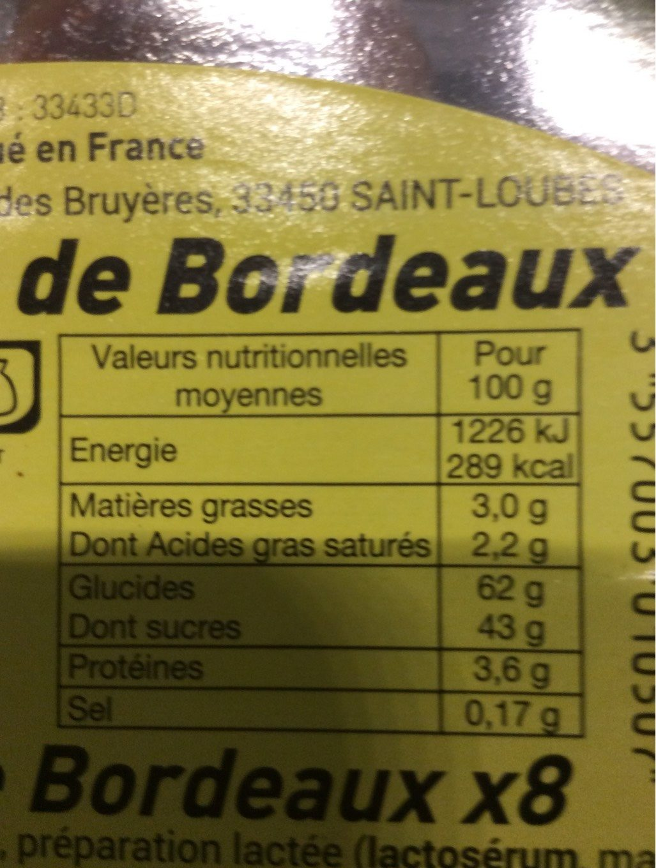 Canelés de Bordeaux - Nutrition facts - fr