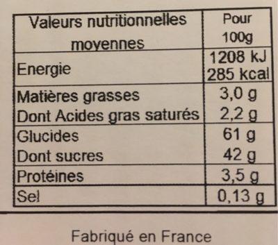 4 x 6 Canelés de Bordeaux - Informations nutritionnelles