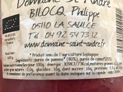 Compotée Pomme Cassis - Valori nutrizionali - fr