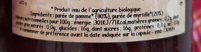 Compotée  pomme-myrtille - Nutrition facts - fr