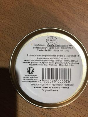 Caviar Frais D'aquitaine 30 Gr, 1 Boîte - Ingrédients - fr