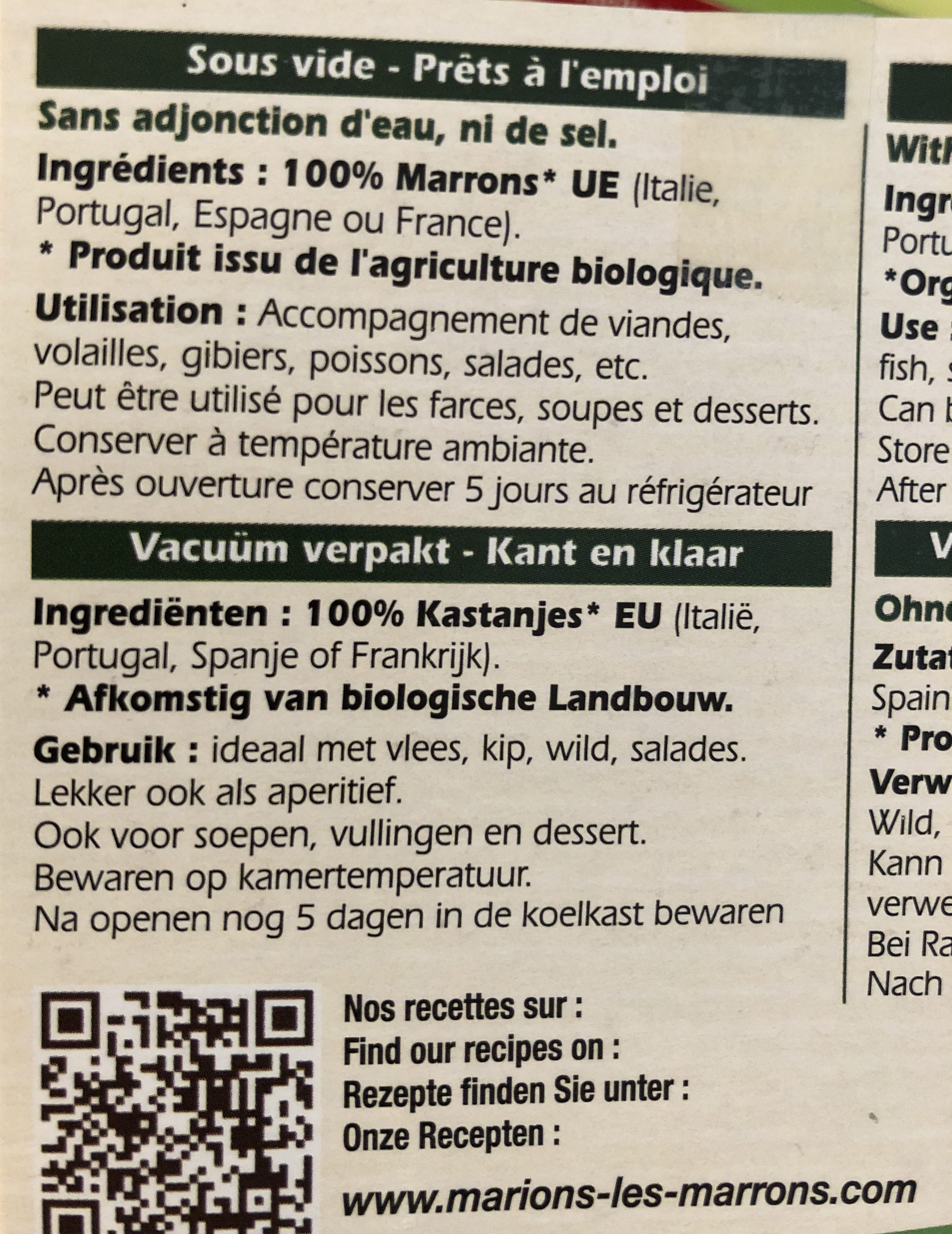 Marrons bio cuits - Ingredients - fr