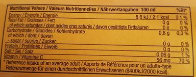 Aloe vera gel - Nutrition facts