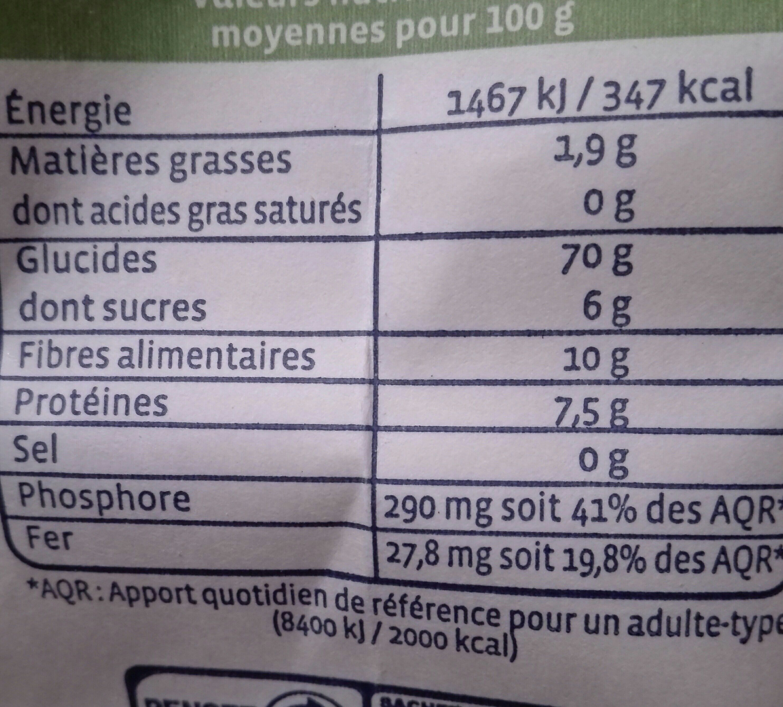 Farine De Seigle T130 complète - Voedingswaarden - fr