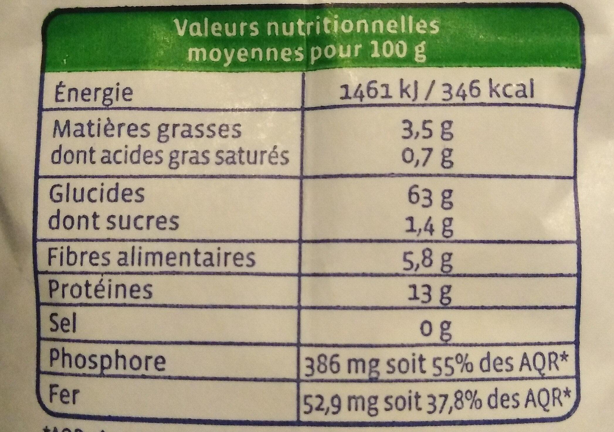 Farine de sarrasin T30 complète - Nutrition facts