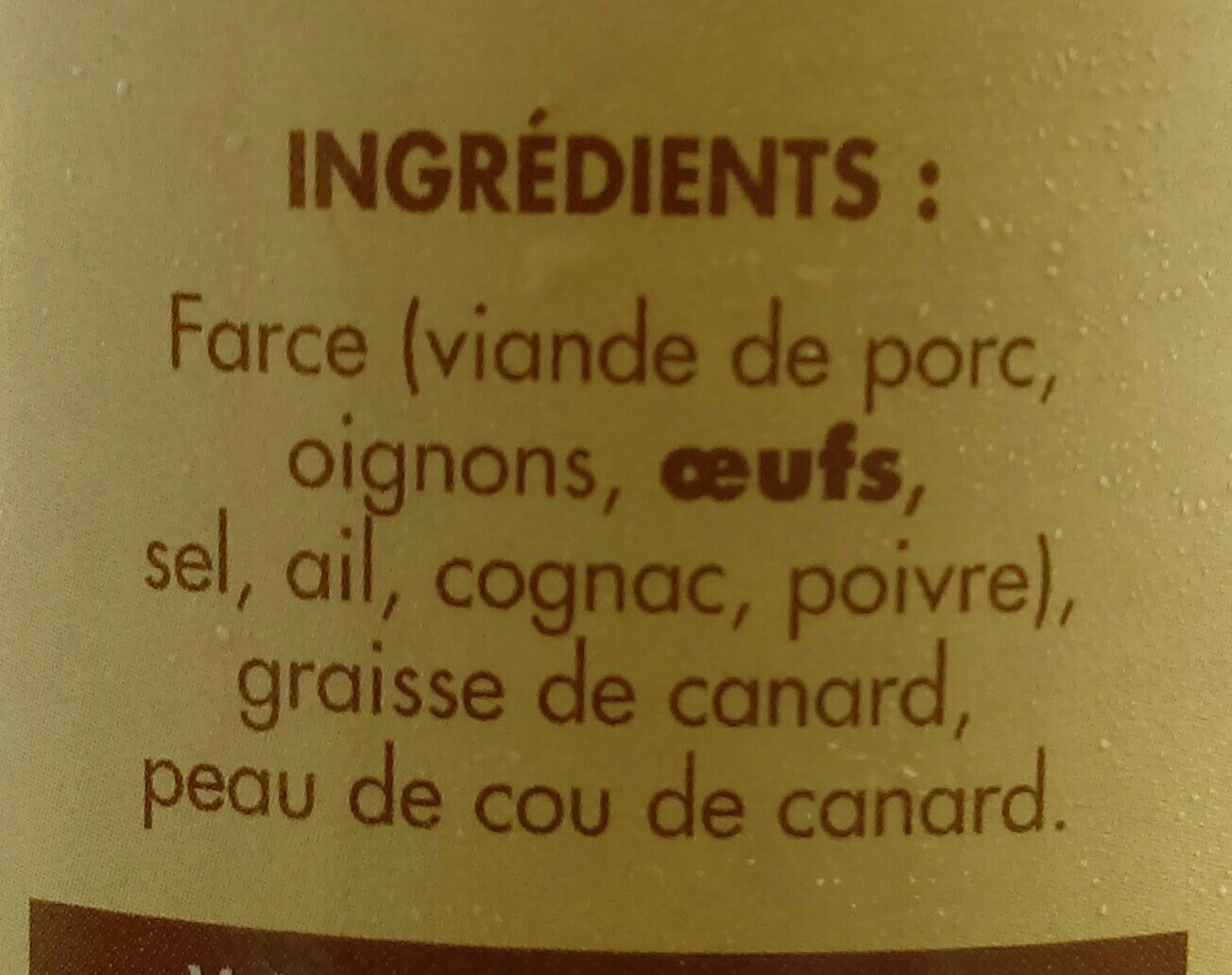 Cou de canard farci - Ingrédients - fr