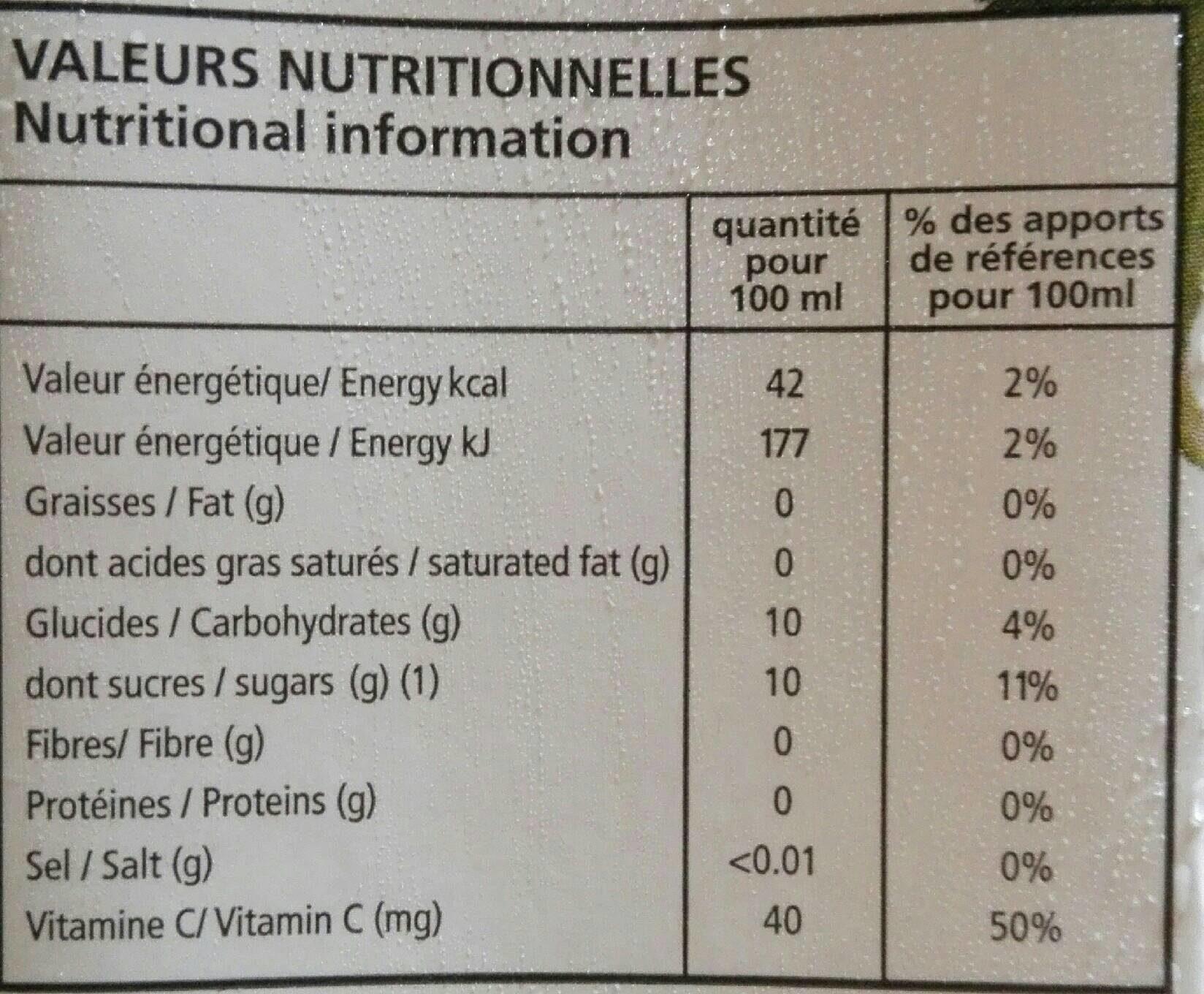 Cocktail Multifruits - Voedingswaarden - fr