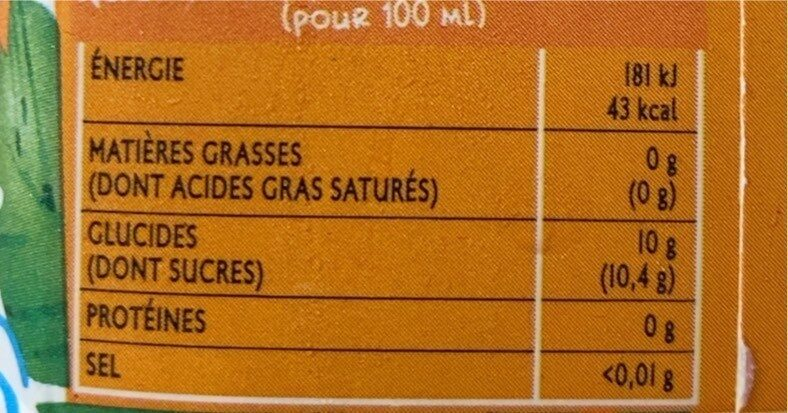 Jus - Informations nutritionnelles - fr
