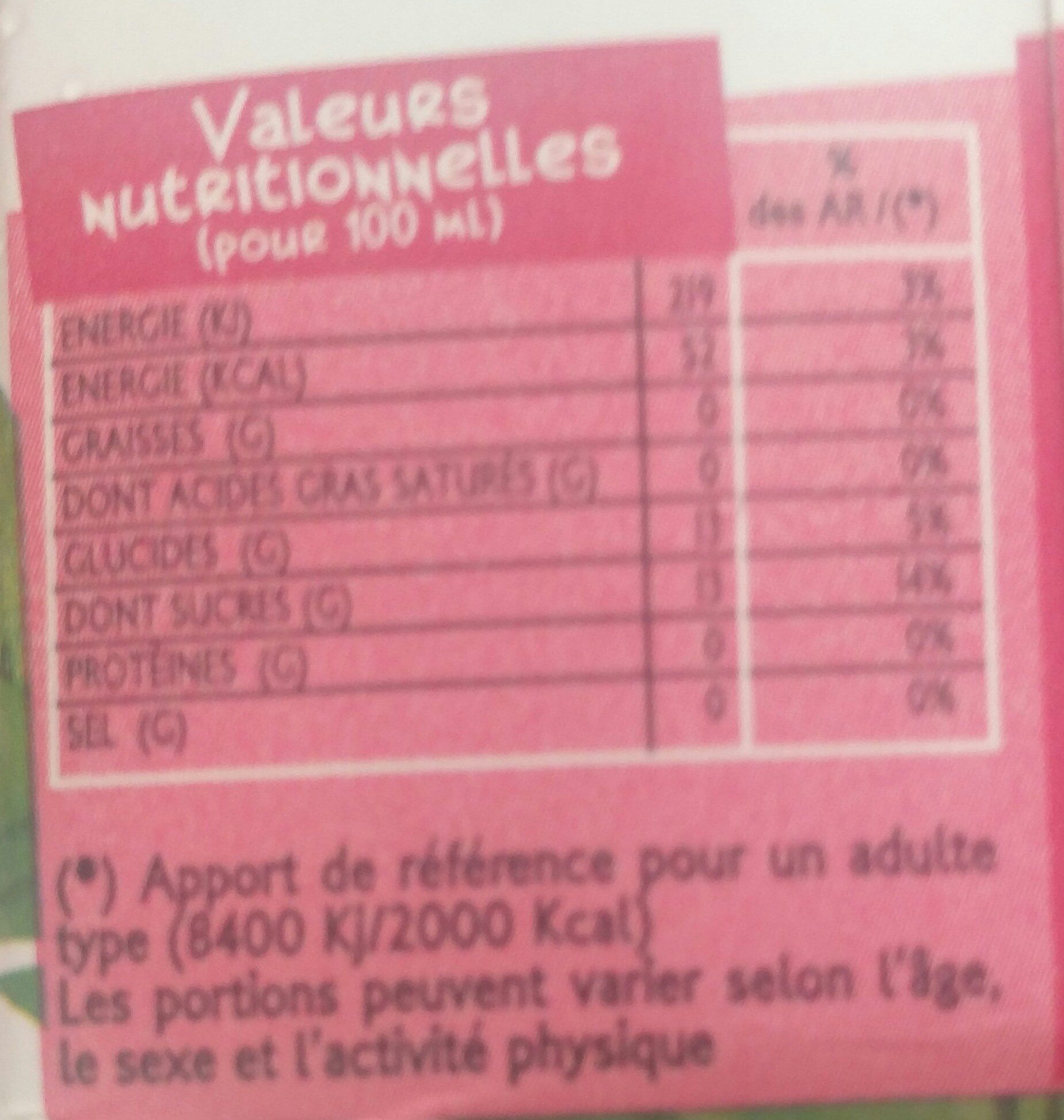 Kayamba mangue-passion - Informations nutritionnelles - fr