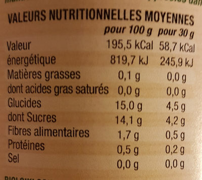 PECHES AU SIROP - Nutrition facts