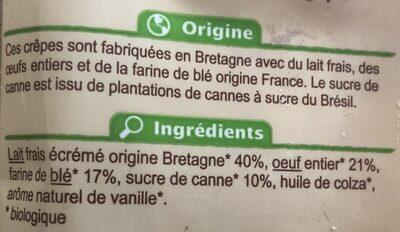 Crepes au sucre de canne - Ingrédients