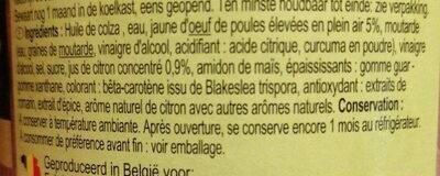 Mayonnaise Citron - Ingredients - fr