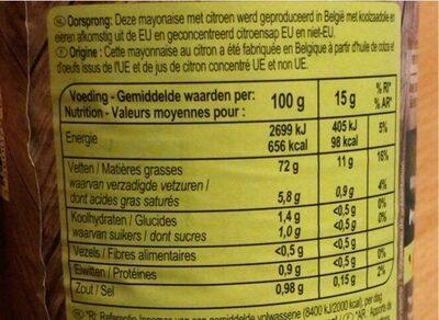 Mayonnaise Citron - Nutrition facts - fr