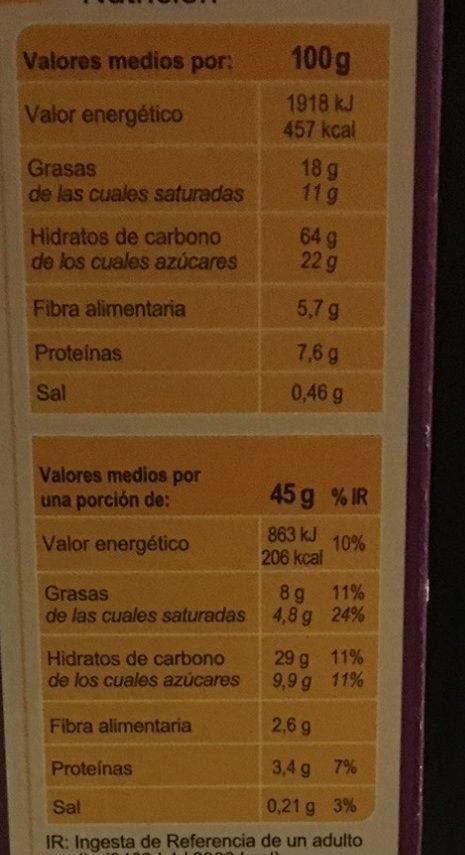 Crunchy5 frutas desecadas - Informació nutricional