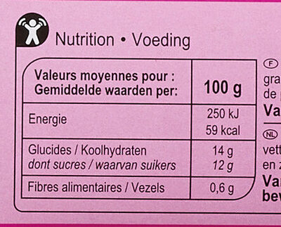 Ananas au jus d'ananas - Informations nutritionnelles - fr