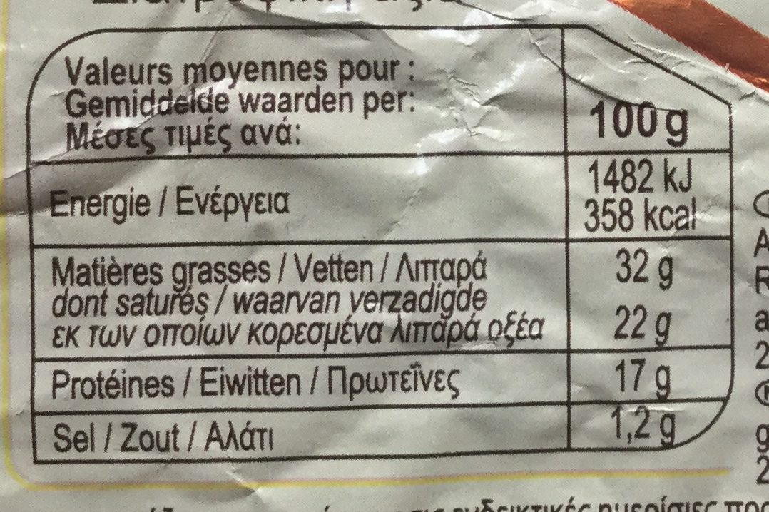 La Pointe de Brie - Informations nutritionnelles