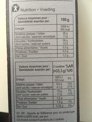 Cookies Choco - Informations nutritionnelles - fr
