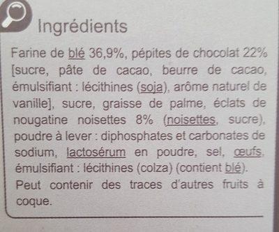 Cookies  Nougatine - Ingredientes