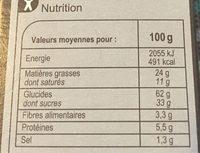 Cookies  Nougatine - Información nutricional