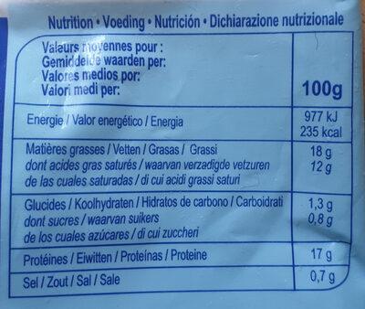 Mozzarella - Información nutricional - es