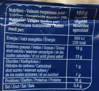 Mozzarella au lait de vache - Informazioni nutrizionali