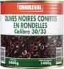 Olives noires confites en rondelles calibre 30/33 - Produit