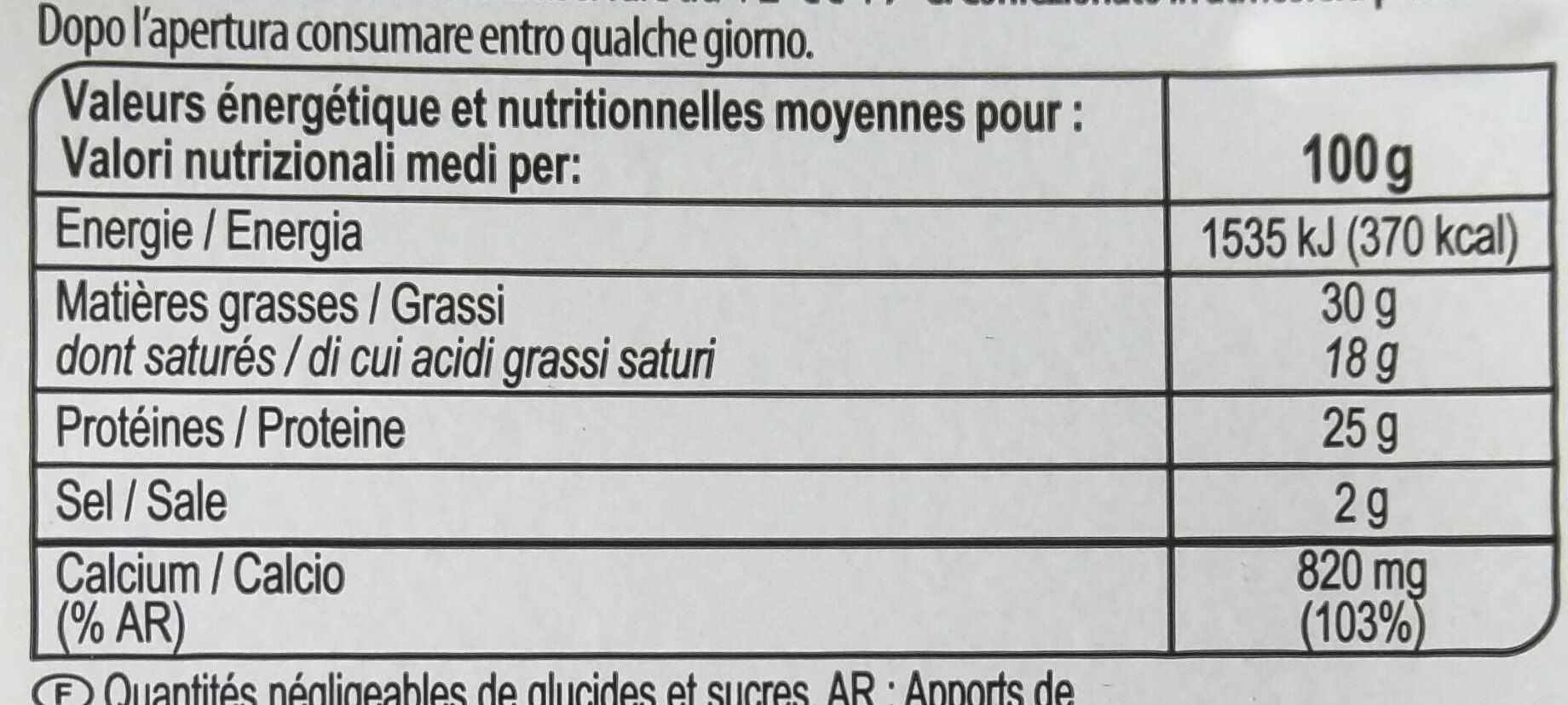 Gouda - Informació nutricional - fr