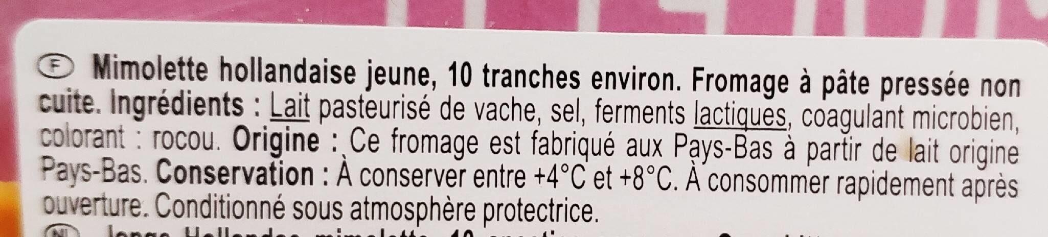 Mimolette - Ingrédients - fr