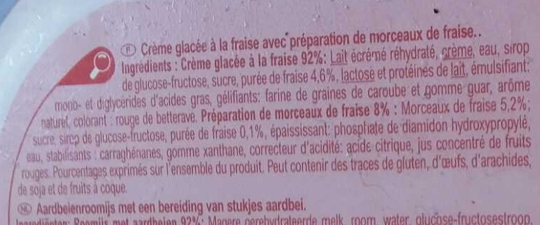 Crème glacée fraise - Ingrédients - fr