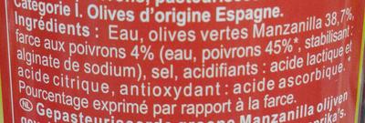 Olives à la farce aux POIVRONS - Ingrédients - fr