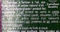 Fromage à tartiner Ail & fines herbes - Ingrédients - fr