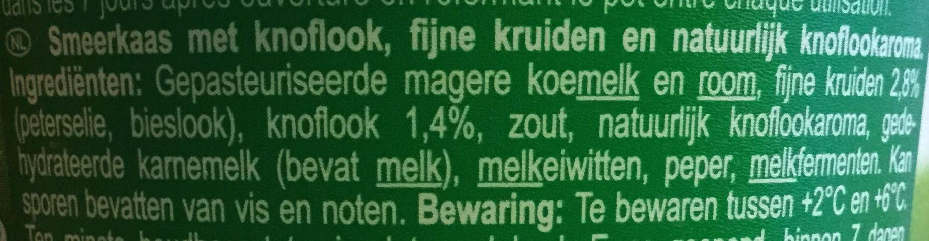 Fromage à tartiner Ail & fines herbes - Ingrediënten - nl
