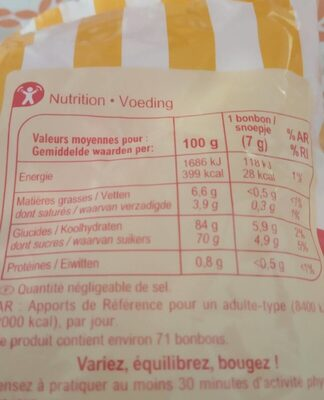 Bonbons tendres gout fruits, citron orange framboise cerise - Informations nutritionnelles - fr