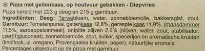 Pizza au chevre cuite au feu de bois - Ingrediënten - nl