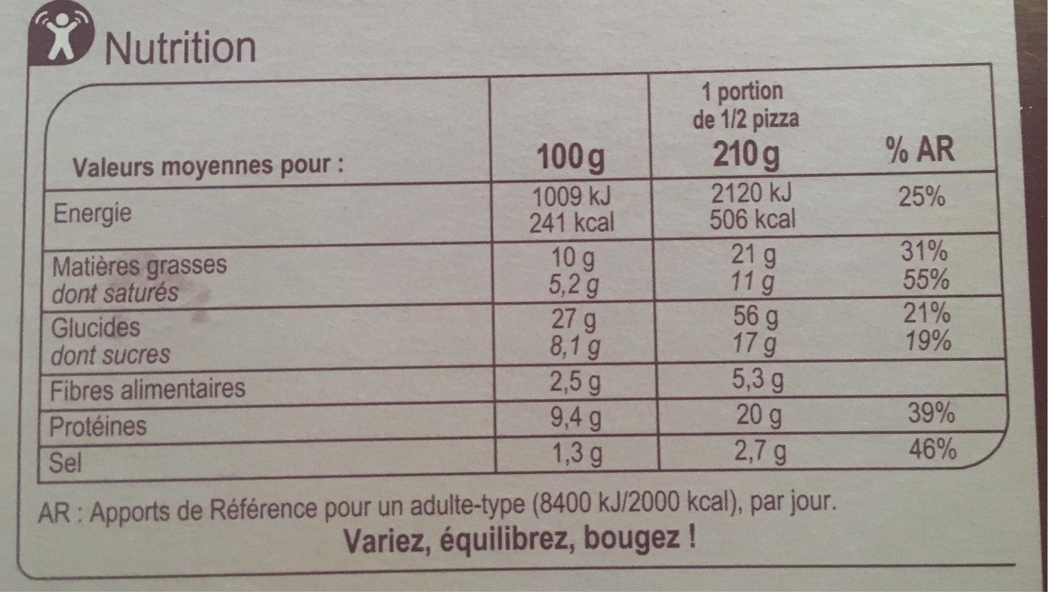 Pizza au chevre cuite au feu de bois - Voedingswaarden
