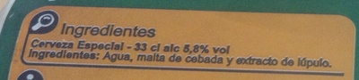 Cerveza especial - Ingredients