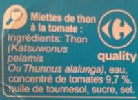 Miettes de thon listao péché à la canne - Ingrédients