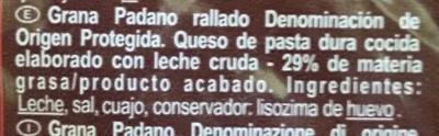 Grana Padano rallado - Ingredients