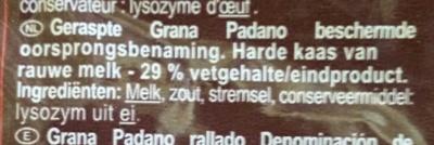 Grana Padano rallado - Ingrediënten