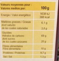 Fibra Flakes Choco - Información nutricional - fr