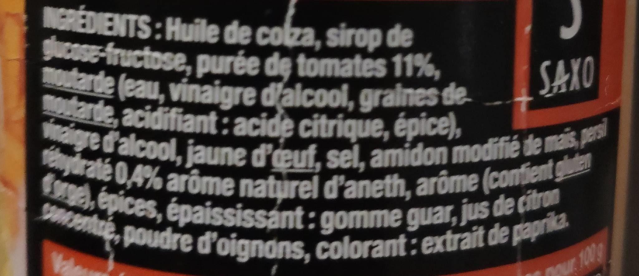 Sauce Hamburger. saxo - Ingredients - fr