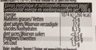 Demi-sel 25% mg - Nutrition facts - fr