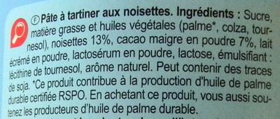 Pâtes à tartiner Noisette - Ingredienti - fr