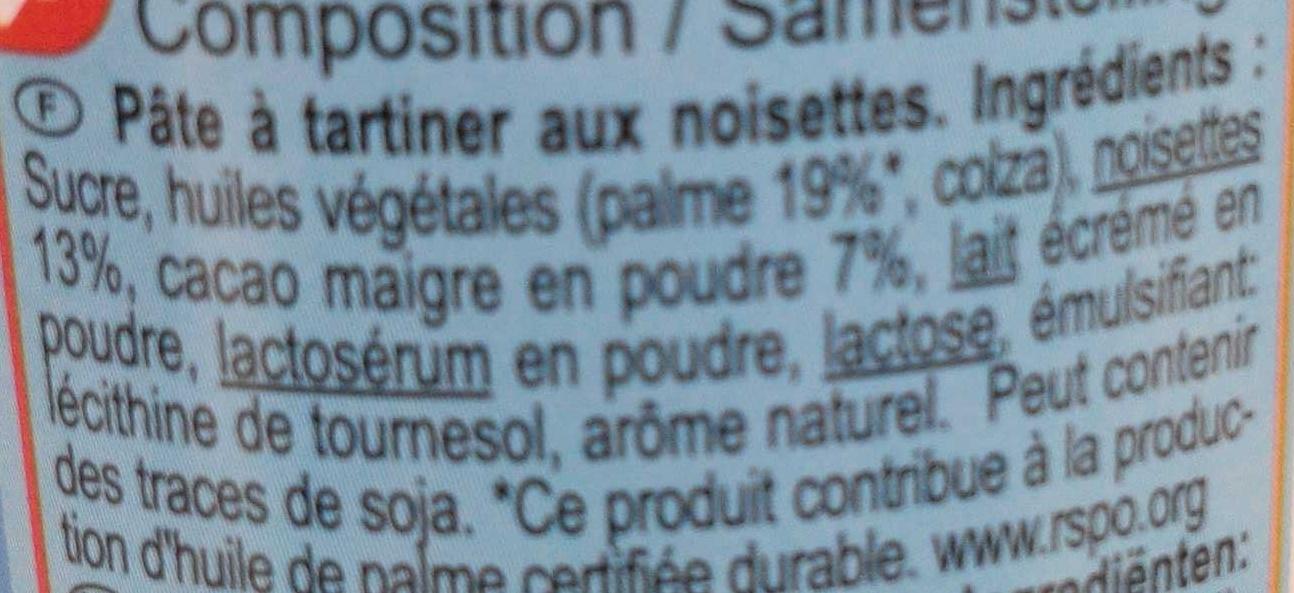Pâte à tartiner plaisir noisette - Ingrédients - fr