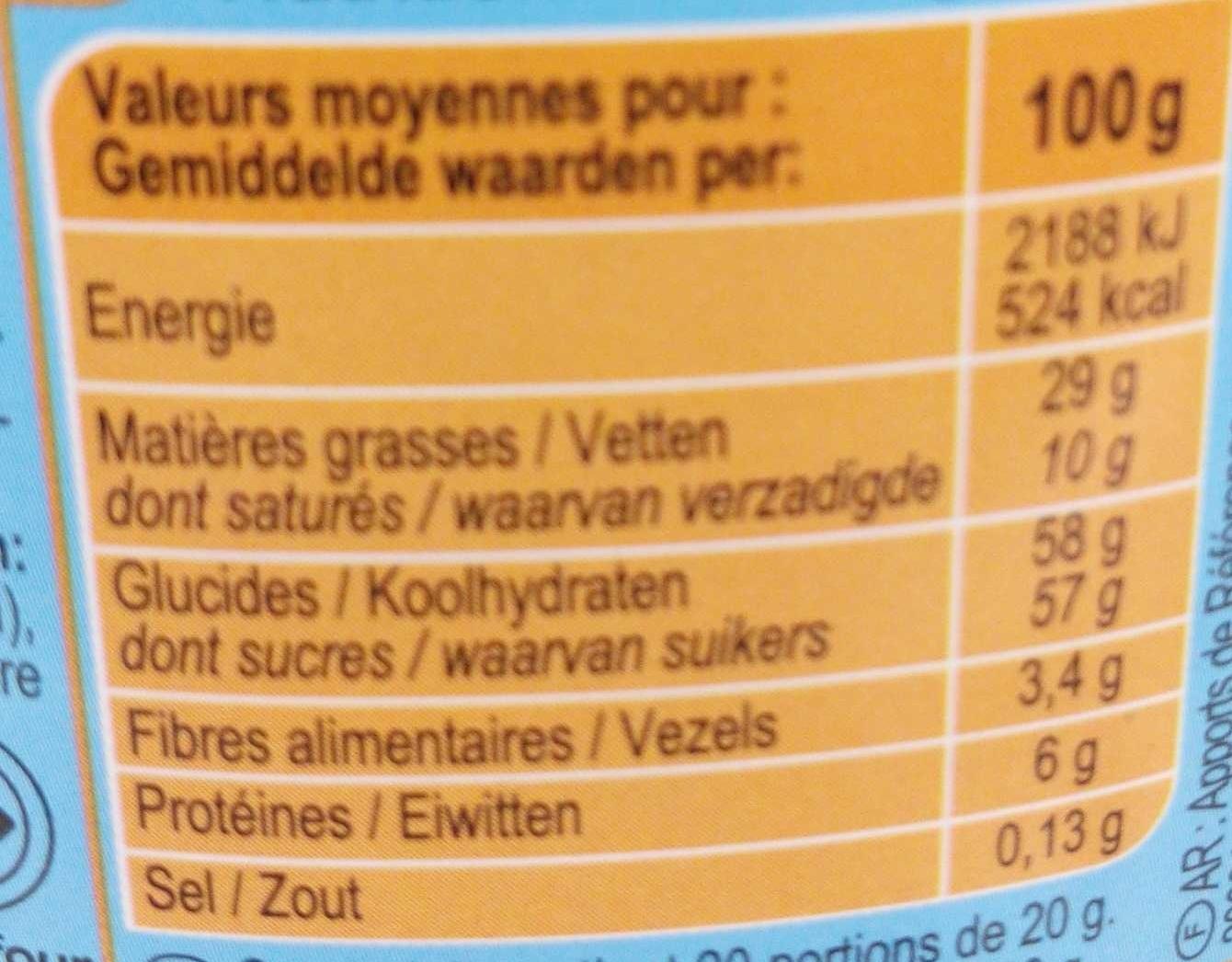 Pâte à tartiner plaisir noisette - Informations nutritionnelles - fr