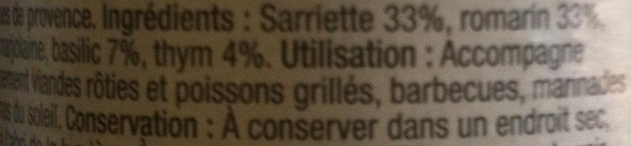 Carrefour - Herbes de Provences - Ingrediënten